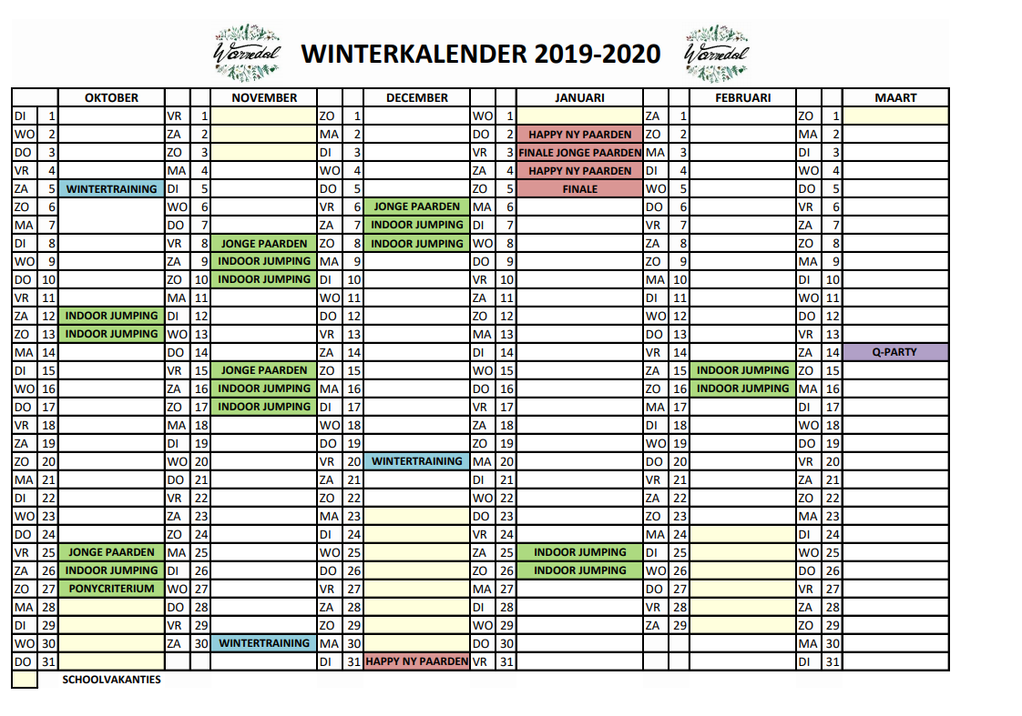 wintercalendar Warredal